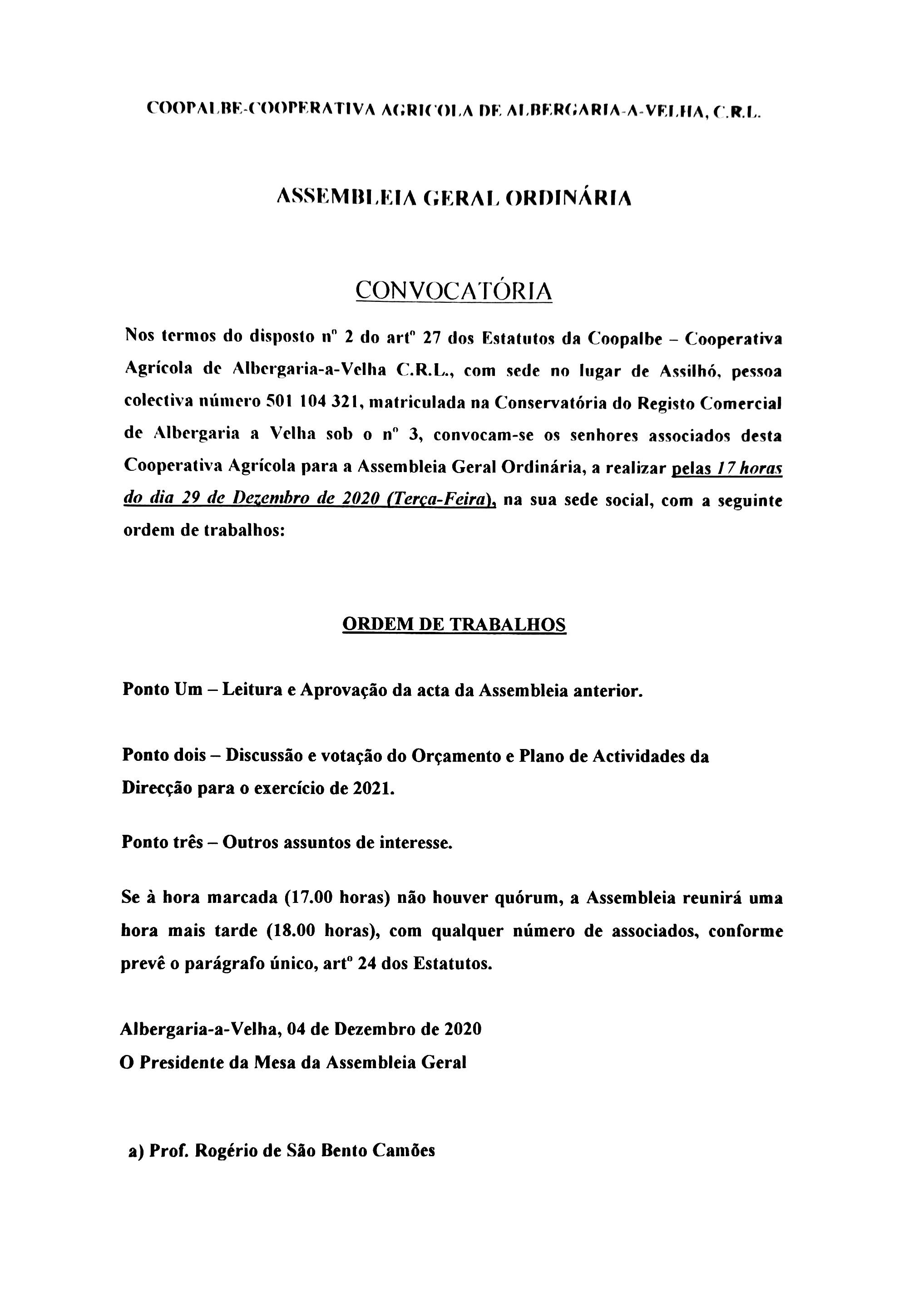 Convocatória COOPALBE – Cooperativa Agrícola de Albergaria-a-Velha, C.R.L.